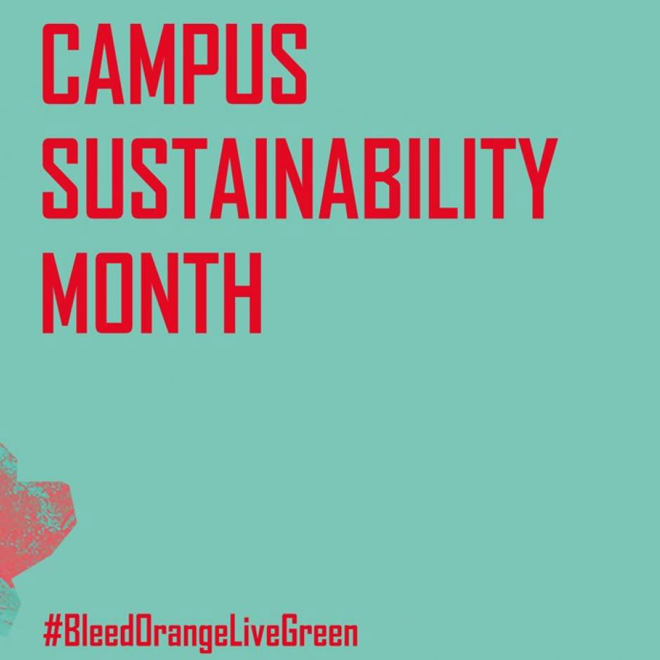 Designed text that reads Campus Sustainability Month