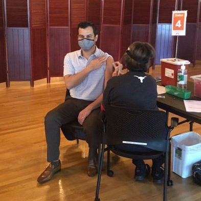 Dr. Hines getting flu shot at the UT Union