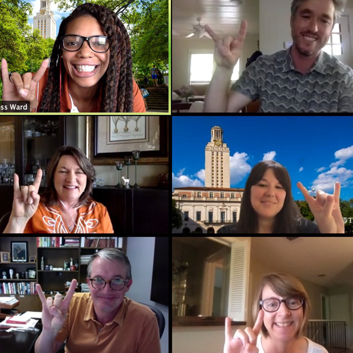 Screenshot of Zoom meeting with Interim President Jay Hartzell and members of University Communications team