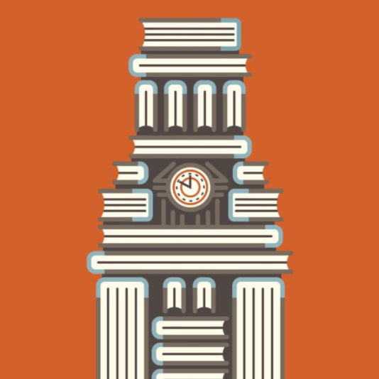 Illustration of UT Tower made out of books