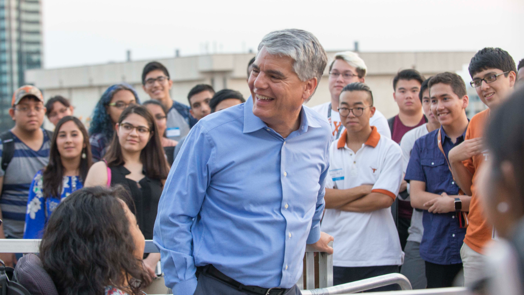 President Gregory L. Fenves with students.