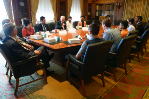 President Gregory L. Fenves meeting with 2019 student lottery winners.